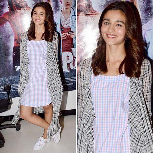 #Alia in blue pink gingham short dress