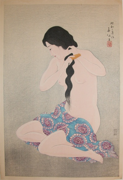 combing hair by Shunsen, 1928: Japan Japanese Prints, Japanese Art, Art Ii, Japanese Women