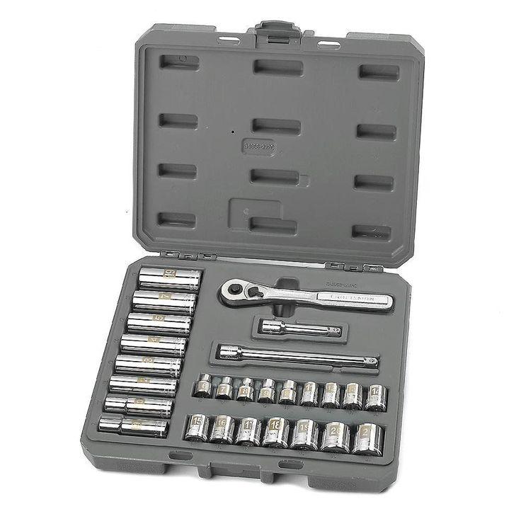 Craftsman Socket Wrench Set 27 Piece Metric Standard Deep Mechanic Toosl w/ Case #CraftsmanMetricSocketWrenchSet