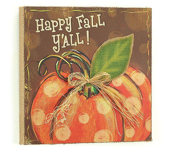 """Happy Fall Y'all"" Burlap Canvas"