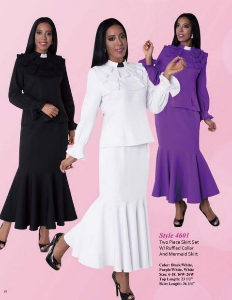 3be4a247503 01. Ladies 2-Piece Preaching Skirt Set - 3 Colors Available - Divinity  Clergy Wear