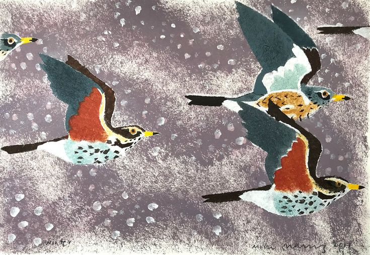 'Winter (Redwings and Fieldfares)' by Mick Manning (pochoir stencil)