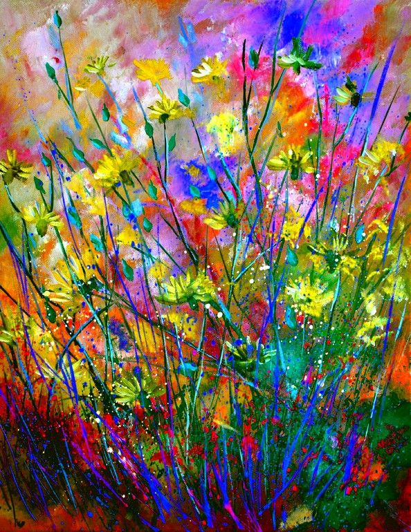 "Saatchi Online Artist: Pol Ledent; Oil 2013 Painting ""wilflowers SOLD"""