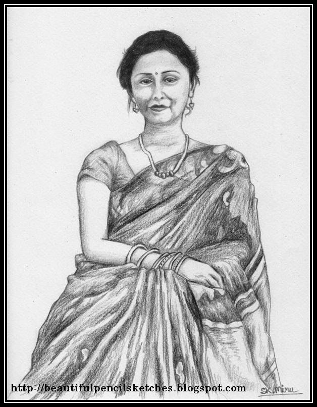 Beautiful pencil sketches indian woman in saree perhaps my most beautiful pe
