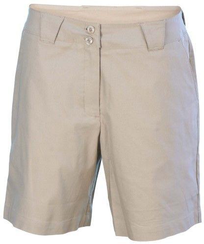 Nike Women's Coaches Flat Front Chino Golf Shorts-Beige-Size 10