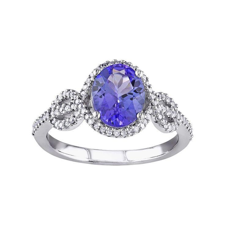 Tanzanite & 1/4 Carat T.W. Diamond 10k White Gold Oval Infinity Ring, Women's, Size: 9, Purple