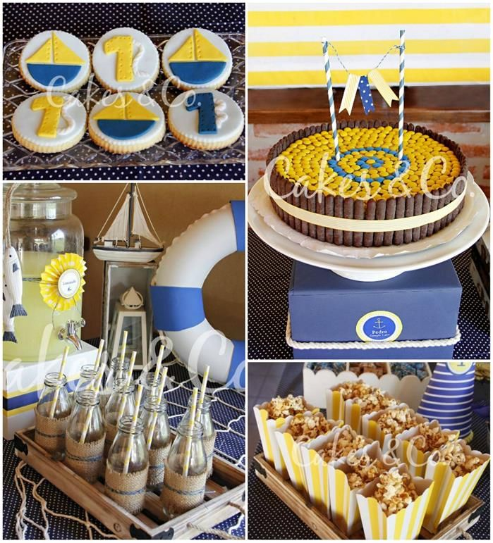 Yellow and Blue Nautical 1st Birthday Party