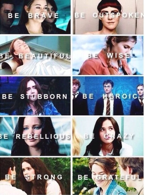 Tris (Divergent), Johanna (Catching Fire), Wanda/Melanie (The Host), Annabeth (Percy Jackson), Clary (The Mortal Instruments), Harry (Harry Potter), Katniss (The Hunger Games), Rose (Vampire Academy), Lena (Beautiful Creatures), Hazel (The Fault In Our Stars)