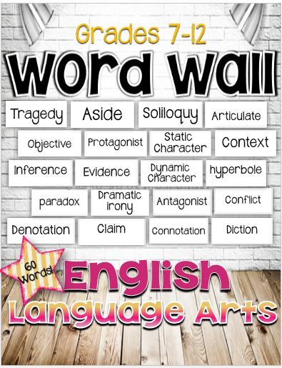 FREE! English Language Arts Word Wall for Grades 7-12. 60 words.*The CCSS requires your instruction to incorporate academic and content vocabulary. As you teach your units of study, just add the words you will cover in your lessons. Your classroom environment should include a word wall. During your observations it will be noted that you have your content vocabulary displayed.*: