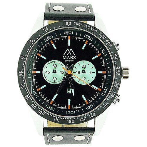 Mab London Gents Translucent Black Dial Date & Black Leather Strap Casual Watch