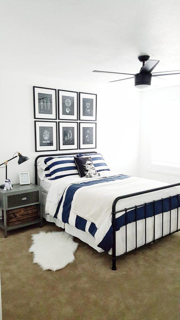 @whitelanedecor #whitelanedecor Star Wars Bedroom, Star Wars big boy room, black metal, bed, Star Wars patent prints, black task lamp, industrial Star Wars room, black ceiling fan.