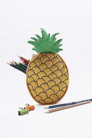 Skinnydip Yellow Pineapple Pencil Case