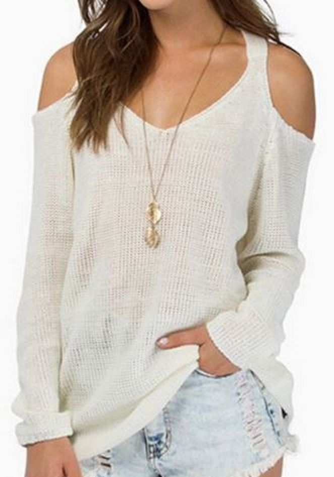 Sweetheart Neck Off-The-Shoulder White Color Summer Sweater