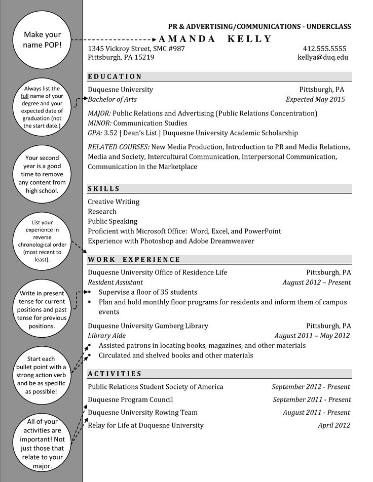 public relations and advertising    communications underclassman resume