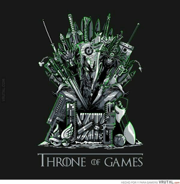 a compendium of video game weapons forming a parody of the iron throne from the game of thrones t shirt art by gilles bone