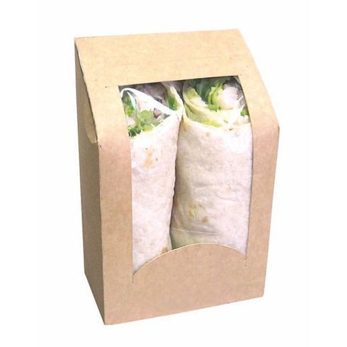 The Sandwich Wrap Box With Window is great for packaging your delicious wraps. Elegantly present all of your delicious sandwich wraps for food take out. 50 Pcs Pack