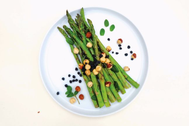 Asparagus with Hazelnuts, Mint and Dried Blueberries - WellBeing Magazine   WellBeing.com.au
