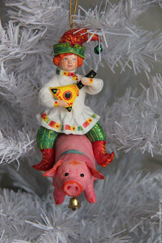 """Новый год 2017 ручной работы. Ярмарка Мастеров - ручная работа. Купить Ёлочные игрушки из ваты """"Потешные Скоморохи"""". Handmade. год овцы"""