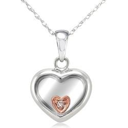 Kobelli 18K White Gold Heart Pendant Necklace with Diamond Accent