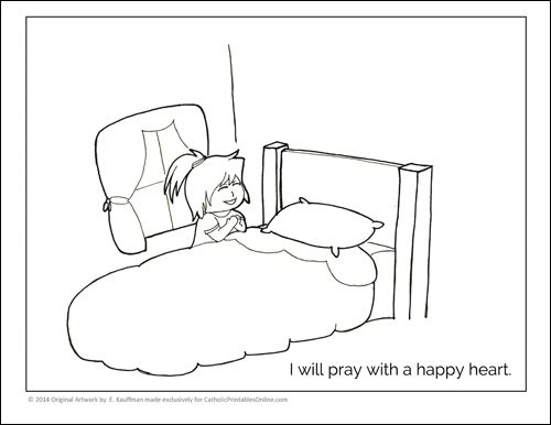 Praying With A Happy Heart Coloring Page Printable