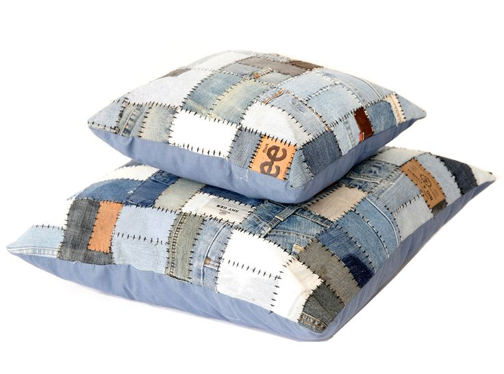 The Jackson is hand made from reclaimed Denim & Leather Labels. Designed by Trash Garden in Australia and Upcycled in India the Jackson is the ultimate eco-patchwork cushion.  Available in 40x40cm, 60x60cm & 60x70cm as well as matching Rugs and Ottomans.  Every Jackson cushion comes filled with an Australian made cushion fill made of Recycled PET Bottles.