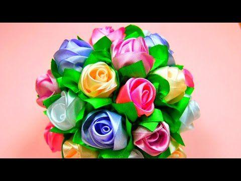 Мастер-класс: Бутоны Роз в Букет-Шар. / Ribbon Rose, Bouquet-Ball / ✿ NataliDoma - YouTube