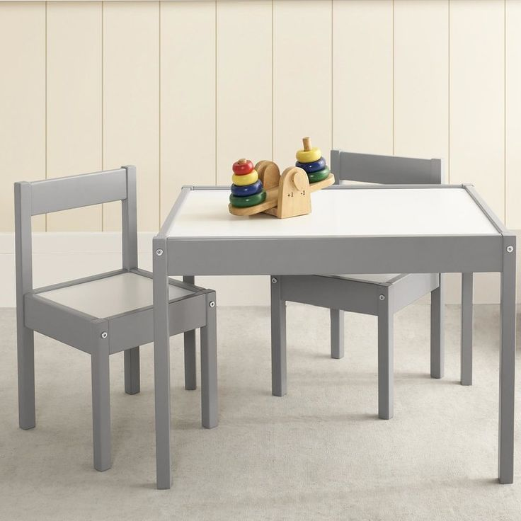 Art projects, tea parties and snack time are all the more fun with the Zoomie Kids Bethany 3 Piece Rectangular Table and Chair Set. Stylishly simple, this set includes a kid-friendly height table and two chairs. Featuring a sturdy wood construction, your kids will love the look of the gray or white frame and white table and chair tops. To make life easier, the table top is designed with a low border that will help keep puzzle pieces, crayons and small toys on the table and off the floor. The…