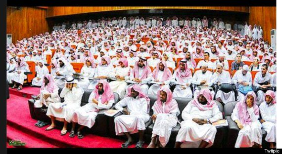 "Saudi Arabia Women's Conference. An image of a conference in Saudi Arabia on the topic of ""women in society"" – with not a single female present."