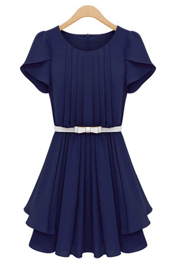 $42.99 Dark Blue Petal Sleeve Pleated Dress @ MayKool.com