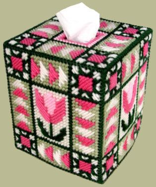 Beautiful Tissue Box Cover QUILTED TULIP Boutique Size