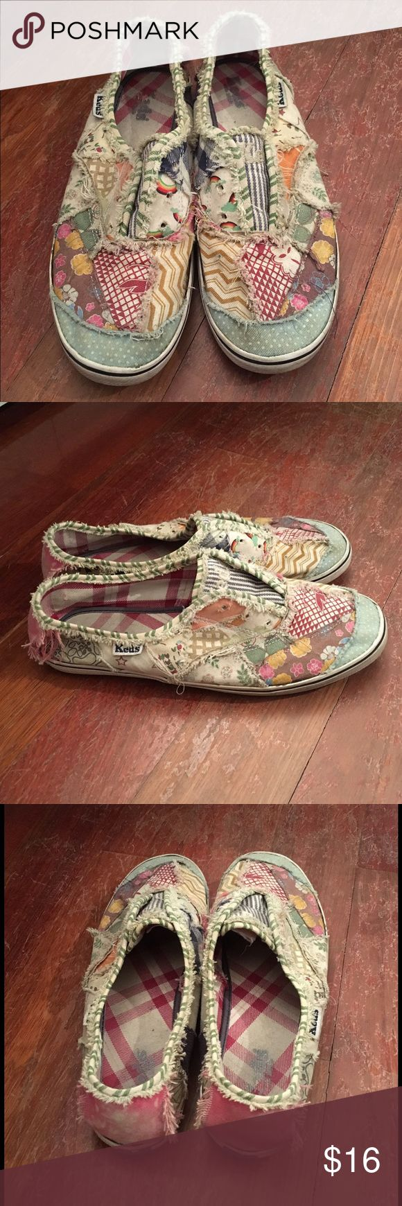 Keds Sneakers Keds patch patterned sneakers. Worn but still cute and comfy! Keds Shoes Sneakers