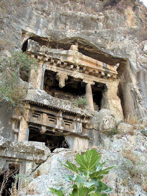 een Lycische graftombe Fethiye, Turkije
