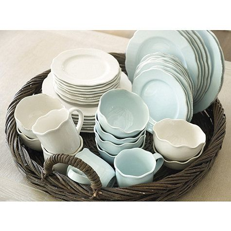 Provence 16 Pc Dinnerware Set in Blue or White Love the pale blue/aqua dishes