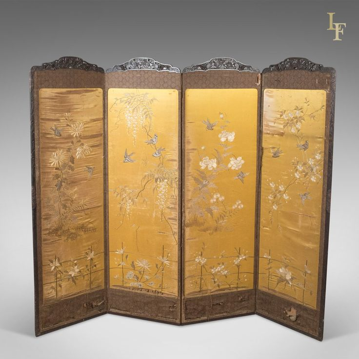 Antique 4 Fold Screen, Victorian Room Divider