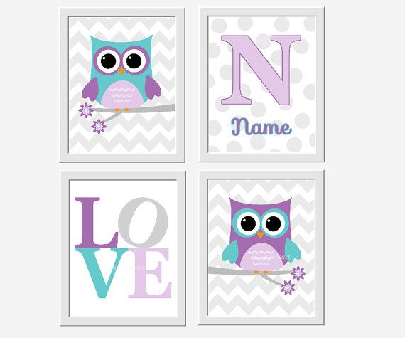 Hey, I found this really awesome Etsy listing at https://www.etsy.com/listing/217327225/owl-baby-nursery-wall-art-purple