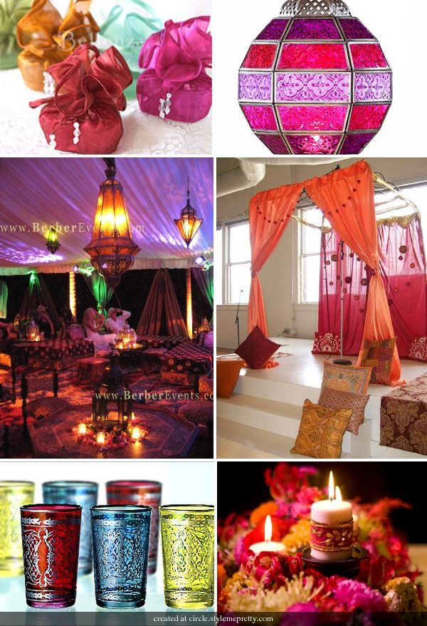 Morrocan wedding theme. This is a little too much,but little bits here and there would be very cool.