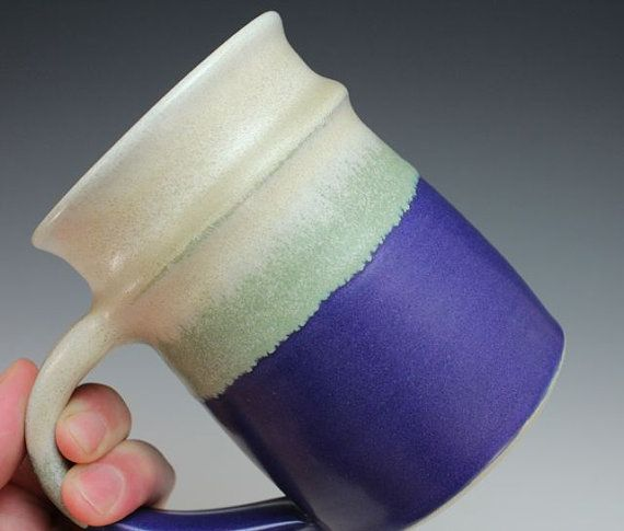 Purple Green and cream Coffee or Tea Mug 14 oz Webb by webbpottery, $22.00