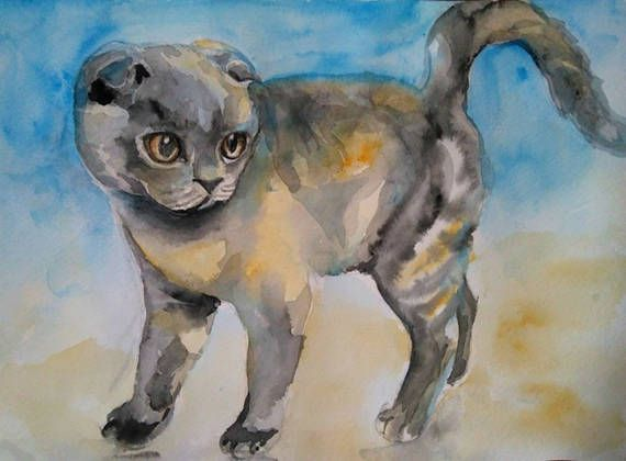 Digital print Cat Watercolor painting Animal by PaintingByAHeart