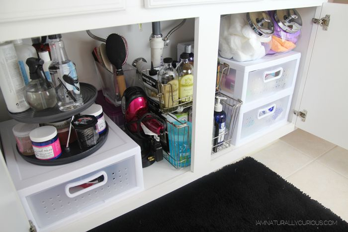 How I Organize My Hair Product Stash + Tips! under the bathroom sink