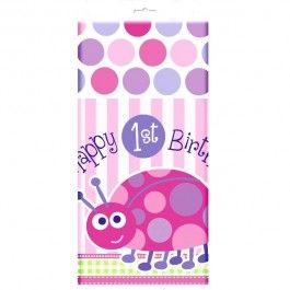 Ladybug 1st Birthday plastic table cover./ Wally's Party Factory #ladybug #1st #birthday #plastic #table #cover