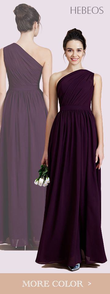 HEBEOS style 72012. 2018 A-Line One-Shoulder Floor-Length Chiffon Bridesmaid Dresses is made-to-order by professional tailors. You can choose from 28 colors and sizes 2 to 16W. The dress details: Slihouette: A-Line/Princess; Fabric: Chiffon; Neckline: One-Shoulder; Sleeve: Sleeveless; Embellishment: Ruched; Back Style: Other; Hemline Train: Floor-Length; Shown Color: Grape