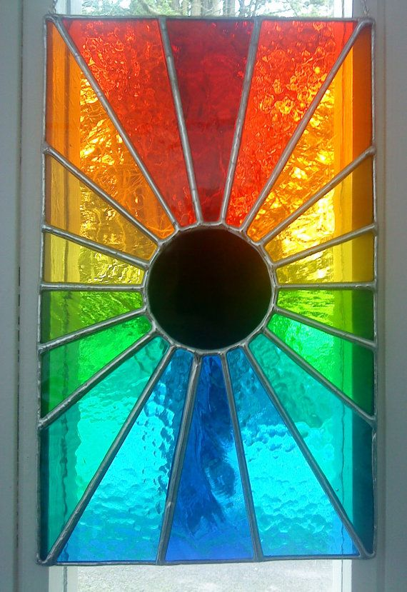 Eclipse! Beautiful Rainbow Stained Glass Suncatcher Window Panel