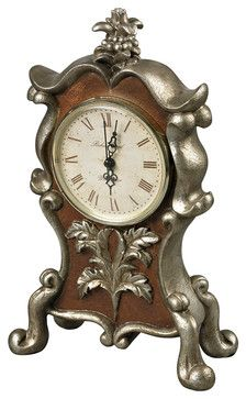 Sterling 93-19322 Desk Clock In Antique Silver And Chestnut - Transitional - Clocks - Lighting Front