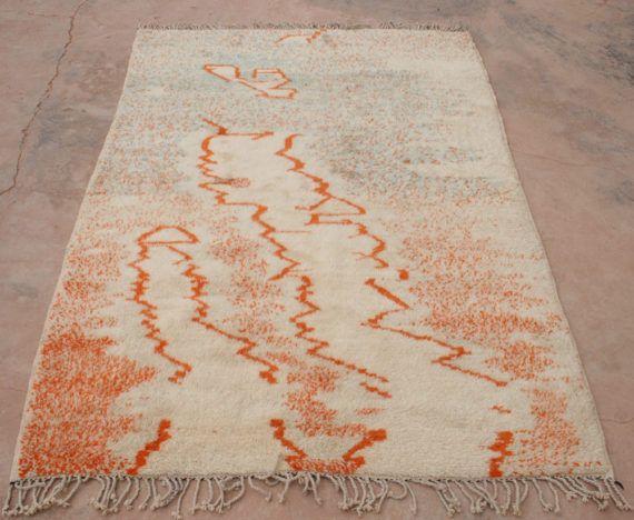Designerteppich, Wandteppich, Moderner Teppich Orange Türkis, Berberteppich, Wollteppich, Marokkanischer Teppich aus Lammwolle, Wandbehang