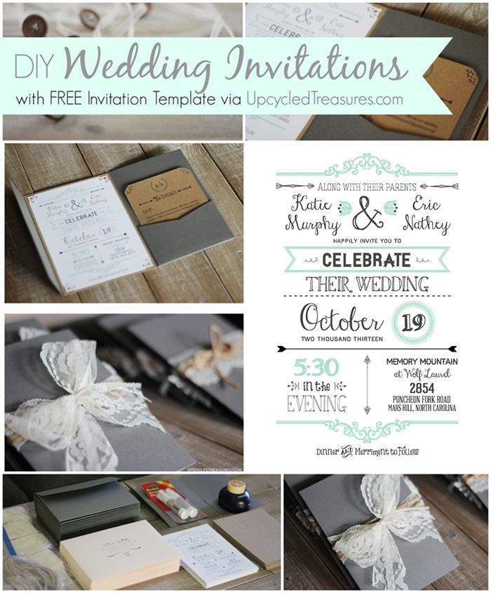 DIY Wedding Invitations I Upcycled Treasures - DIY wedding invitations with a FREE wedding invitation template!