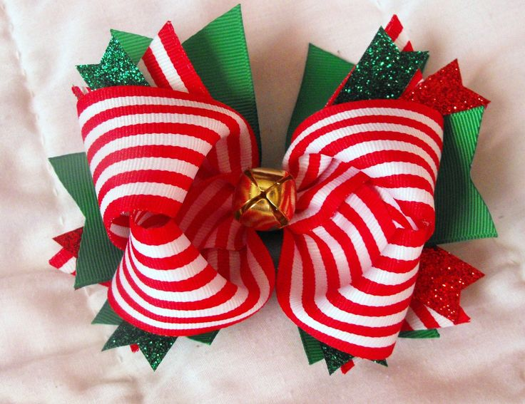 Jingle Bell Christmas Hair Bow.