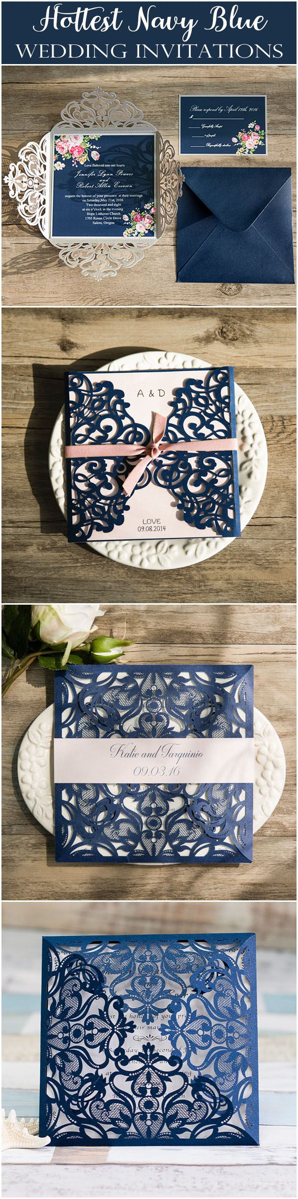graceful navy blue laser cut wedding invitation EWWS030 as low as $2.09