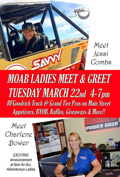 Charlene Bower and Jessi Combs Hosting a Ladies Meet and Greet at 2016 Easter Jeep Safari.  Click for more info