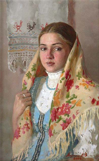 Russian costume in painting. Andrei V. Markin. Sveta. 2000. Sveta is the name of a girl. #art #painting #Russian #costume
