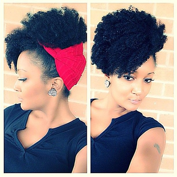 Curly #NaturalHair + red hair scarf